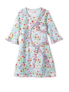 4EverPrincess Girl's Sheila Ruffle Dress (Blue Floral)