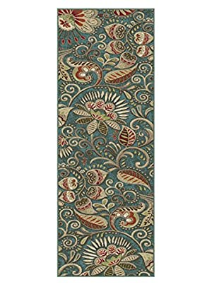 Universal Rugs Capri Transitional Runner, Blue, 2' x 8'