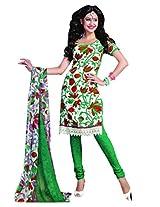 Anvi Creations Cream Green Spun Cotton Dress Meterial (Cream Green_Free Size)