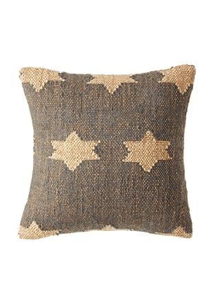 La Boheme Jute/Wool-Blend Flag Cushion, Natural/Slate, 15