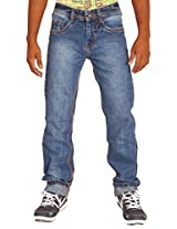 Altran's Blue 100% Cotton Fabric Relaxed Fit Semi Distressed 5 Pocket Jeans 5298CH (Size:- 28)