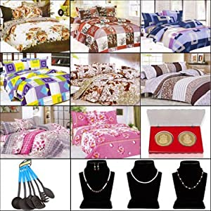 Combo of Birde 8 Bedsheets + 3 Pearl Mala + 24crt Gold Plated Coins + 6 Pcs Nylone Kitchen Tool