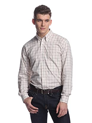 Oxxford Men's Sport Shirt with Button-Down Collar (Cream Multi)