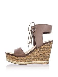 80%20 Women's Wedge Sandal with Tie (Brown)