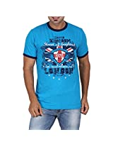 Goflaunt Men's Poly Cotton T-Shirt -Blue, (Medium)