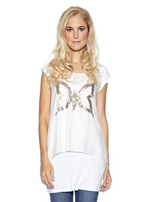 Cream T-Shirt mit Seidenanteil Butterfly (Weiß)