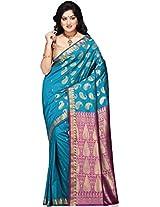 Utsav Fashion Women's Aqua and Purple Banarasi Art Silk Saree With Blouse