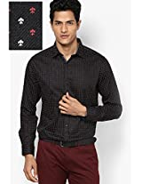 Black Printed Slim Fit Clubwear Shirt V Dot