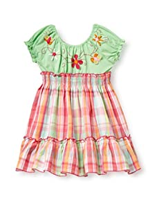 Beetlejuice Girl's 2T-6X Butterfly Kisses Embroidered Yoke Dress (Green)