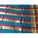 Multi Padukottai Block print Cotton Saree With blouse piece