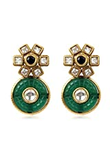 Adwitiya Collection Kundan And Green Stone Crafted Dangle Earrings for Women