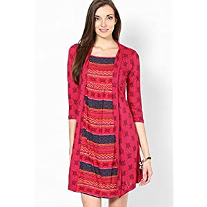 100% Viscose Magenta Printed Shift Dress by Global Desi