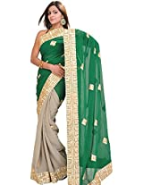Exotic India Silver-Sage and Green Shaded Wedding Saree with Golden Patc - Green