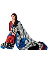 Brijraj Esha Deol, White Red Blue Bhagalpuri Silk Beautifull Printed Saree With Unstitch Blouse