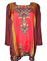 Odishabazaar Women Crepe A-Line Kurta (Fmk-229 _Red _Large)