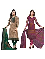 Rajnandini Combo of cotton Printed Unstitched salwar suit Dress Material (Yellow & Green _Free Size)