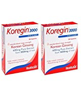 Healthaid Korean Ginseng 600 mg 30 capsules one a day 2 bottles Combo