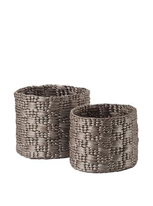 Lazy Susan Set of 2 Metallic Water Hyacinth Baskets