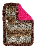 Patricia Ann Designs Satin Ruffles Cheetah Swirl Indulgence Blanket, Hot Pink/Chocolate