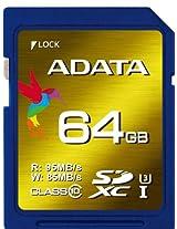 ADATA 64GB Read 95 MB/s and Write 85 MB/s SDXC UHS-I U3 Class 10 Memory Card (ASDX64GXUI3CL10-R)