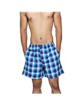 Clifton Men's Woven Shorts - Royal Blue White Checks - XX-Large