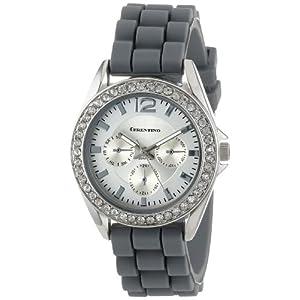 Cerentino Women's CR106-GRY  Grey Silicone Rubber Rhinestones Watch