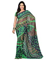 Admyrin Multi Colour Printed Saree with Georgette Blouse Piece