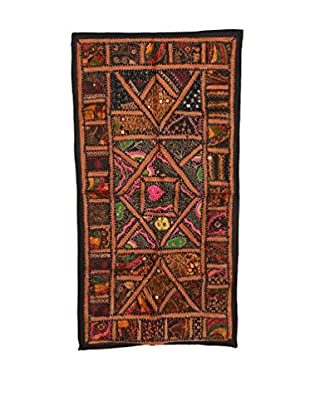Uptown Down One-of-a-Kind Brown & Multi-Color Patchwork Textile Panel