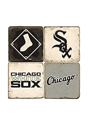 Studio Vertu Set of 4 White Sox Logoed Tumbled Marble Coasters with Stand
