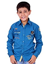 OK's Boys Adoring Khaki Casual Cotton Twill Shirt For Boys | OKS2494BRN