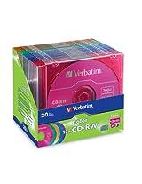 Verbatim 700MB 4x-12x 80 Minute Color Rewritable Disc CD-RW, 20-Disc Slim Case 96685