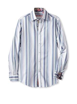 Report Collection Men's Stripe & Paisley Woven Shirt (Blue)