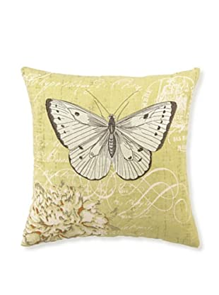 """Kathryn White Antique Butterfly & Peony Pillow, 16"""" x 16"""""""
