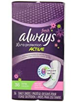 Always Xtra Protection Long Daily Liners Clean Scent 36 Count