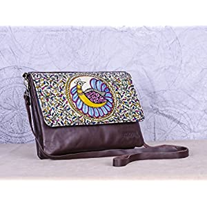 Moya Dancing Peacock Leather Clutch With Detachable Strap