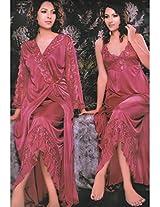 Indiatrendzs Bridal Nighty Sexy Baby Doll Peach 2pc Set Silk Satin Lingerie-Free Size