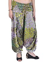 Exotic India Harem Satin Trousers with Printed Paisleys and Flowers - Color Sulphur SpringGarment Size Free Size