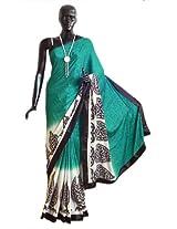 DollsofIndia Self Design Dark Green Satin Silk Saree with Black and White Printed Border Border and Pallu - Satin Silk - Green