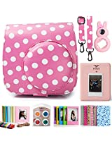 Fujifilm Instax Mini 8 Instant Camera Accessory Bundles Set (Included: Pink Vintage Instax Mini 8 Case Bag With Film Count Show/ Diamond Style Mini Book Album / Pink Rabbit Design Mini 8 Close-Up Lens(Self-Portrait Mirror)/ Colorful Close-Up Lens For Mini 8/ Wall Decor Hanging Frame/ 3 Inch Photo Frame/ Colorful Decor Sticker Borders)
