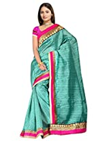 Sehgall Saree Indian Ethnic Professional Material Faux Geogette Blue