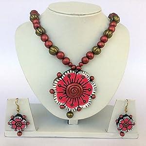Anikalan Designs Multibead Pink Flower Pendant Terracotta Necklace Set