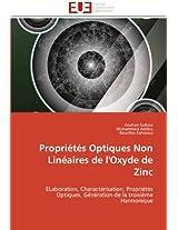 Proprietes Optiques Non Lineaires de L'Oxyde de Zinc (Omn.Univ.Europ.)