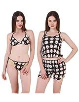 Fasense Exclusive Women Babydoll 4 Pc Set, Top, Shorts, Bra & Thong FA053 (Medium, Black)