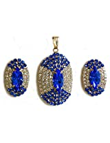 DollsofIndia Blue and White Stone Studded Oval Shaped Pendant and Earrings - Stone and Metal - Blue