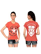 Texco Women's Round Neck T-Shirt (TC0049W-006_Brown_Small)