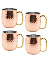 Set of 4, Copper Mule Mug Hammered Lacquered Finish Indian Drinkware, Diameter 4.5 Inches, Steel Copper