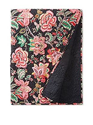 North Rodeo Collection Floral Block Hand Stitched Throw, Black/Red