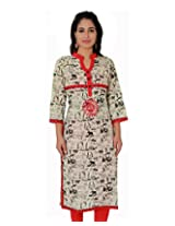 Adesa Women Cotton Kurti(Brown) (X-Large)