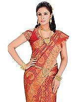 Pure Silk Kanjeevaram Hand woven Saree-Red-JG7-Silk