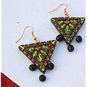 Petals of Earth Terracotta Maroon, green, and yellow hanging earrings